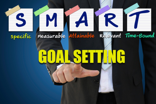 Businessman pointing smart goal setting for business achievement concept
